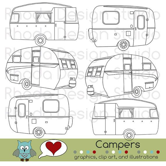 Vintage Campers Digital Clip Art Retro Camp by RhodaDesignStudio                                                                                                                                                                                 More
