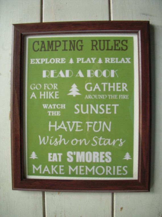 Camping Rules Sign <3 - @ Kacey McPherson think I could make this on canvas?