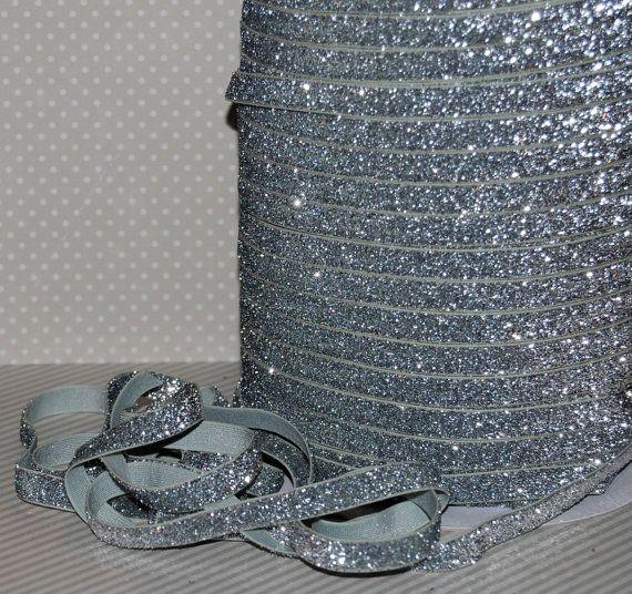 """Paillettes élastique pli argent sur élastique FOE 3/8"""" B-1 Glitter maigre bandeaux cheveux liens Satin élastique 5 vgs garniture élastique"""