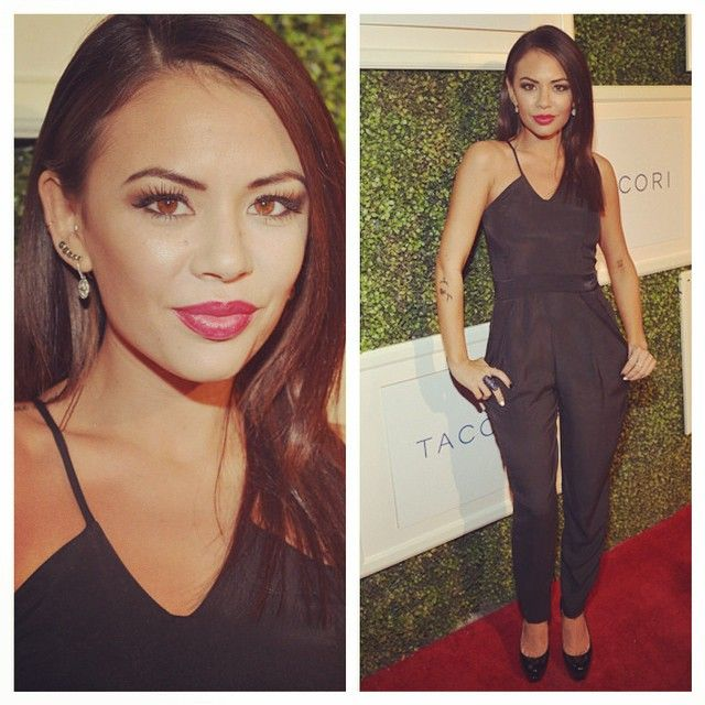 Janel Parrish looked so sleek and chic in her black pantsuit. | Pretty Little Liars