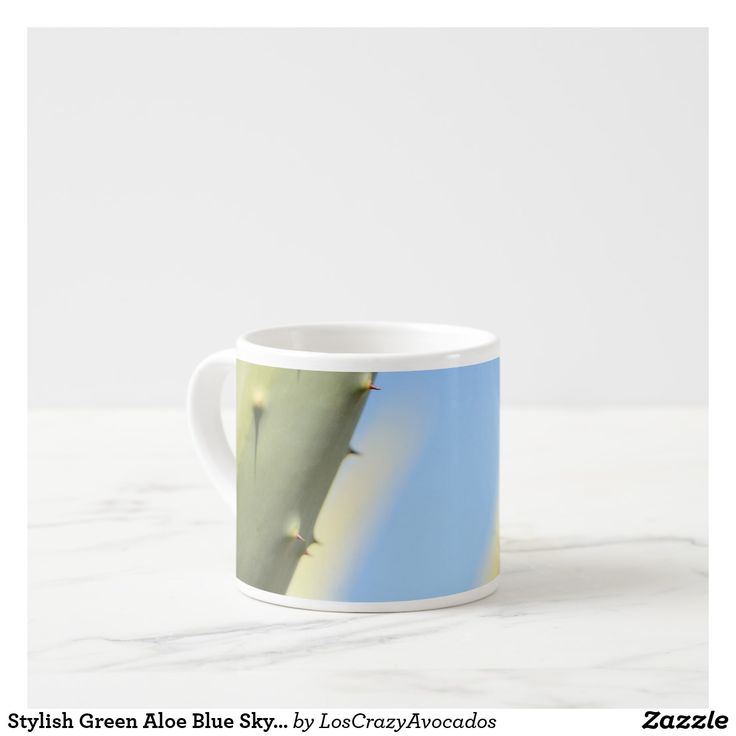 Stylish Green Aloe Blue Sky Espresso Coffee Mug