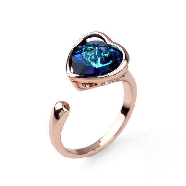 Мода кристалл кольцо в форме сердца кольцо с лучшие продукты открытое кольцо ювелирных изделий мода