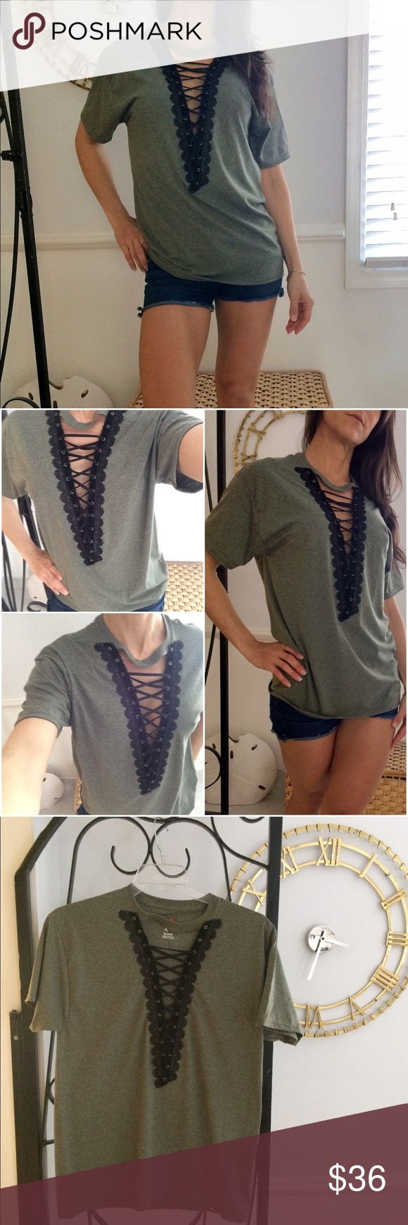 Sexy Summer Deep V Lace Up T-Shirt Get your sexy on! Handmade with ❤️.                                  Brand new T-shirt                                                         Size:Adult Medium Hanes.                                     Color: Heathered army green/ moss green.          Trim:beautiful black velvet & Lace grommet trim along the deep V plunge.Soft Black corset lacing.                                                                          Wear it loose, fitted, knotted…