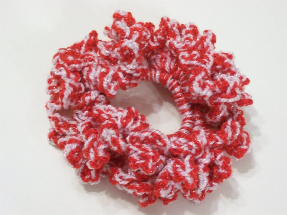 Red and White Scrunchie / Red and White Sparkle by tinybabylady, $5.50