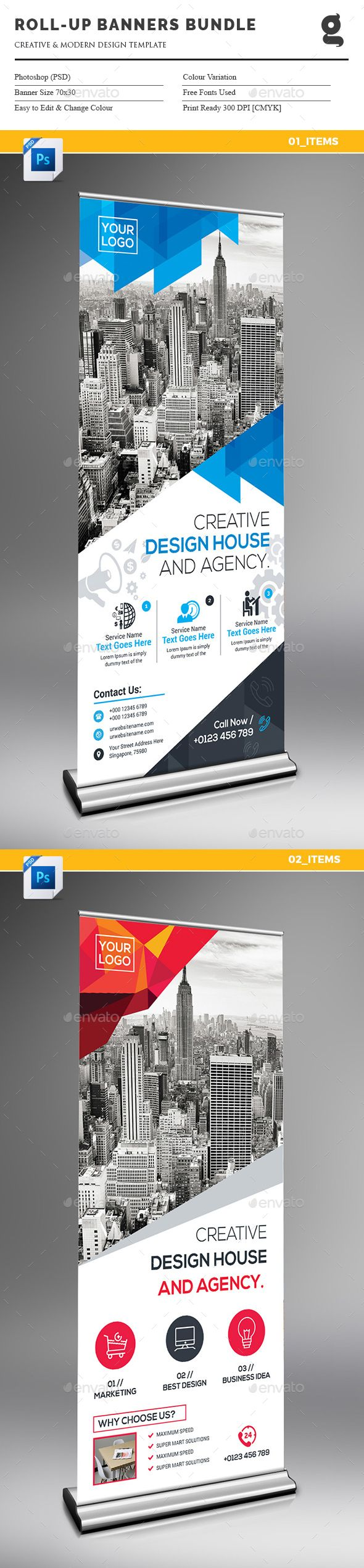 Roll-Up Banner Template PSD Bundle