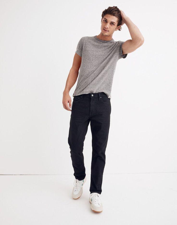 Straight Authentic Flex Jeans in Classic Black Wash #mensstyle Men's Straight Authentic Flex Jeans in Classic Black Wash