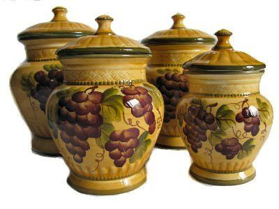 tuscan kitchen canisters 4pc ceramic canister set tuscany grape by ack http www 15237