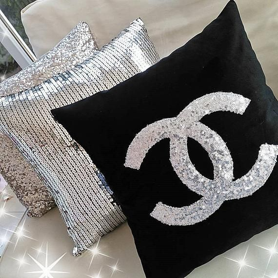 Pillow Silver Sequin & Black Velvet, Designer Decorative