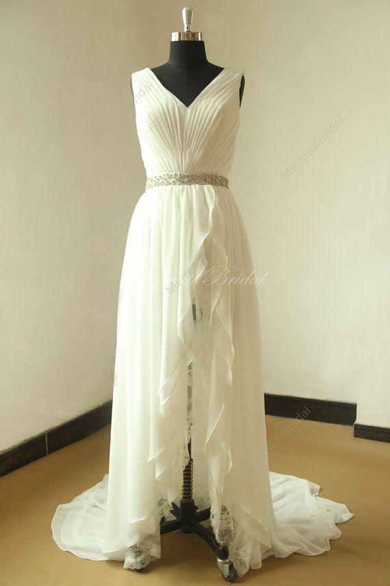 Bridemaids Dress - Ivory simple high low chiffon lace wedding dress with elegant beading sash