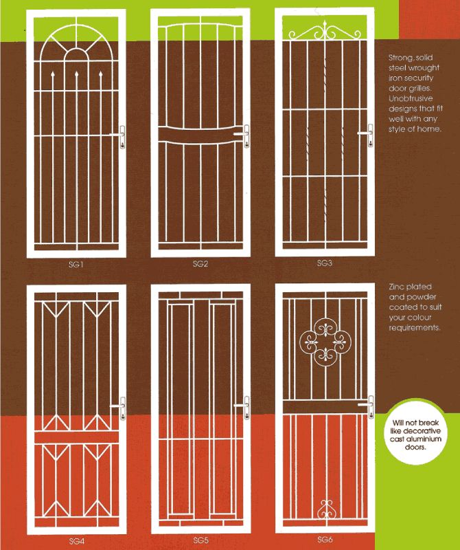 Solid Steel Wrought Iron Security Door Grilles Unobtrusive