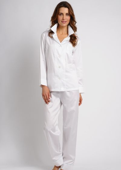 Women's Egyptian Cotton Pajamas- Porcelain $178 #cottonpajamas #olist #madeintheusa #bestpajamas #luxurypajamas #pajamas