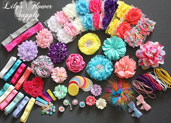 Baby Shower Headband Kit - Party Collection - Hair Bow Kit - Baby Shower Headband Station Kit - Birthday Party - 32 Headbands 5 Clips