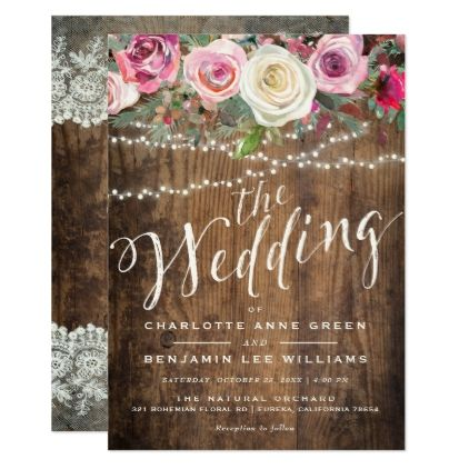 #WEDDING INVITATION   Rustic Wood Floral Lights - #barn #wedding #rustic #invitation #cards #party #ideas