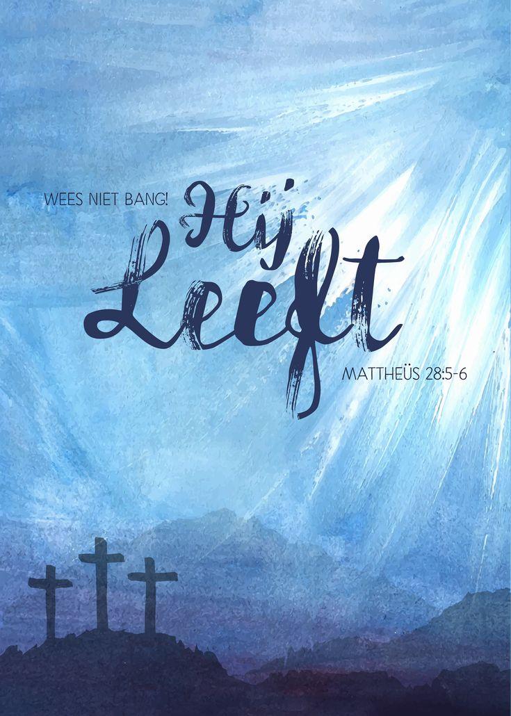 Hij leeft! 'Wees niet bang, ik weet dat jullie Jezus, de gekruisigde, zoeken. Hij is niet hier, hij is immers opgestaan, zoals hij gezegd heeft. Kijk maar, dat is de plaats waar hij gelegen heeft. Mattheüs 28:5-7  #Jezus, #Opstanding, #Pasen  https://www.dagelijksebroodkruimels.nl/matteus-28-5-6/