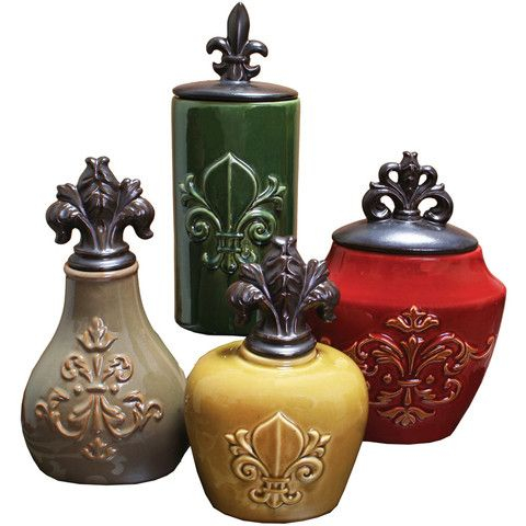 Fleur De Lis Red Ceramic Canisters, Set of 4 – Decor Le Fleur Available @ www.decorlefleur.com
