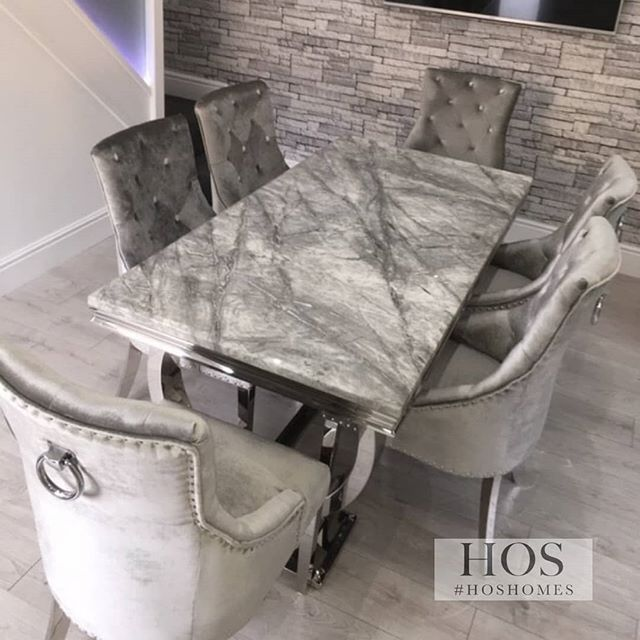 The Arizona Dining Set Who Else Loves Grey Marble This Set Is Available In In A 6 Or An 8 Seater Chrome Detailing With Dining Table Chairs Dining Table Table