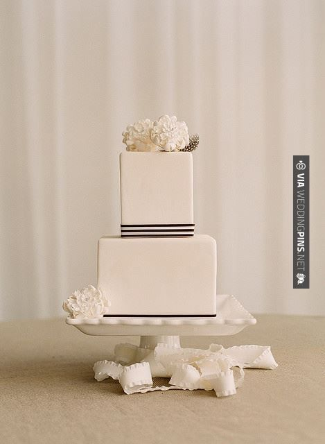 Like this - Modern square cake | CHECK OUT MORE GREAT BLACK AND WHITE WEDDING IDEAS AT WEDDINGPINS.NET | #weddings #wedding #blackandwhitewedding #blackandwhiteweddingphotos #events #forweddings #iloveweddings #blackandwhite #romance #vintage #blackwedding #planners #whitewedding #ceremonyphotos #weddingphotos #weddingpictures