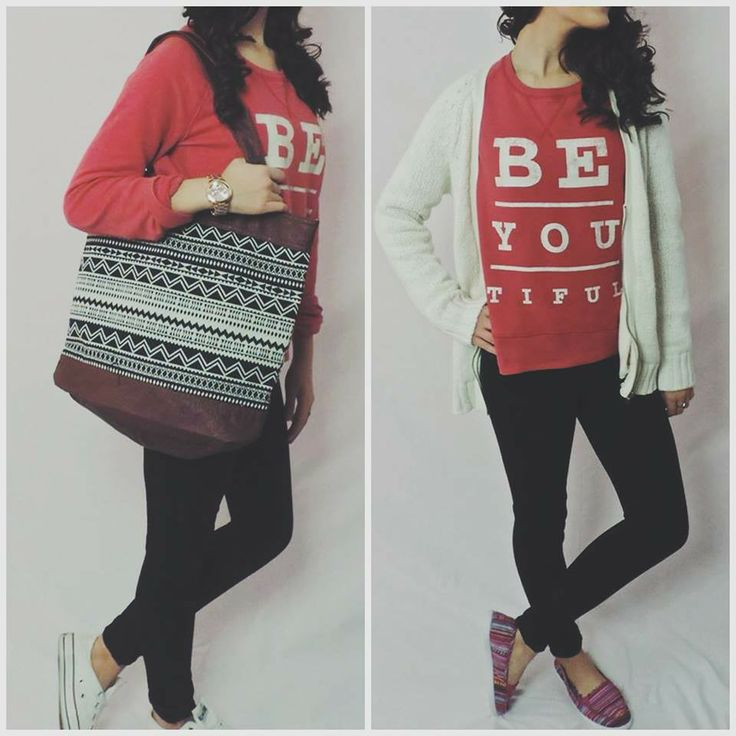 Whata be-you-tiful in red, white cardi with tribal shoes and bag.