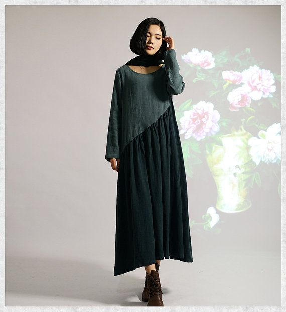 women Maxi Dress long linen dress Loose Fit Soft by JulyFlower