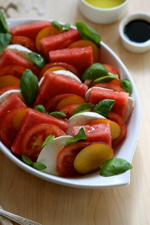 Watermelon Peach Caprese Salad