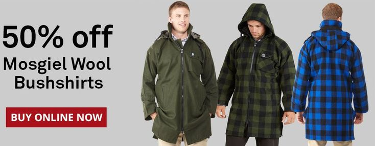 $174.95 (50% OFF) Swanndri Men`s Mosgiel Wool Bushshirt with Zip-up front @ Swanndri - Bargain Bro