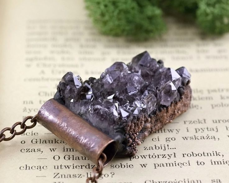 electroformed, druzy amethyst necklace, statement  necklace, natural raw stone, handmade by pentaxPL on Etsy