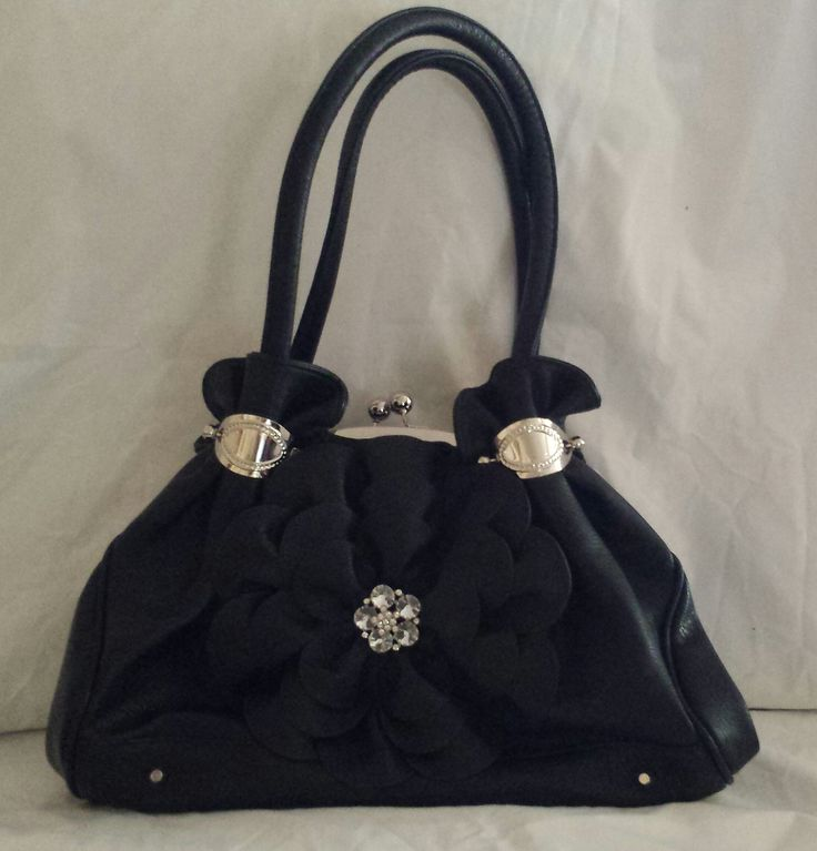 """""""AGTS"""" Logo  3 Compartment Handbag with Diamante Rose Accent and Silver Decorative Plates on Handles   $135.00"""