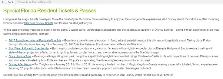 Choices Of Walt Disney World Annual Passes For Florida Residents