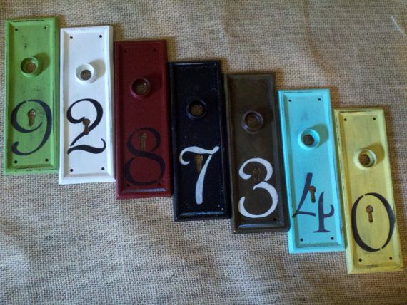 Antique architectural metal house number apartment by Trinketicity, $8.00 - 36 Best Vintage Door Plates, Door Knob Plates, Key Plates, House