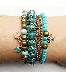 Blauw en Brons Armbandjes