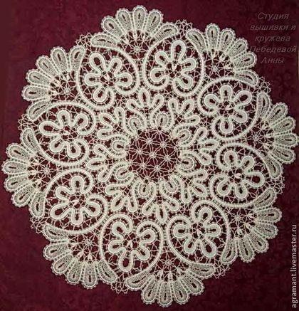 Салфетка д.62 Вологодское кружево - вязаная скатерть,купить скатерть,льняная скатерть