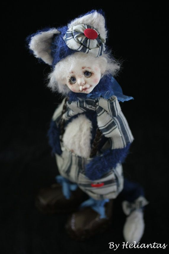 Ooak Handmade dollypet plush: Mr Raymond the cat by heliantas