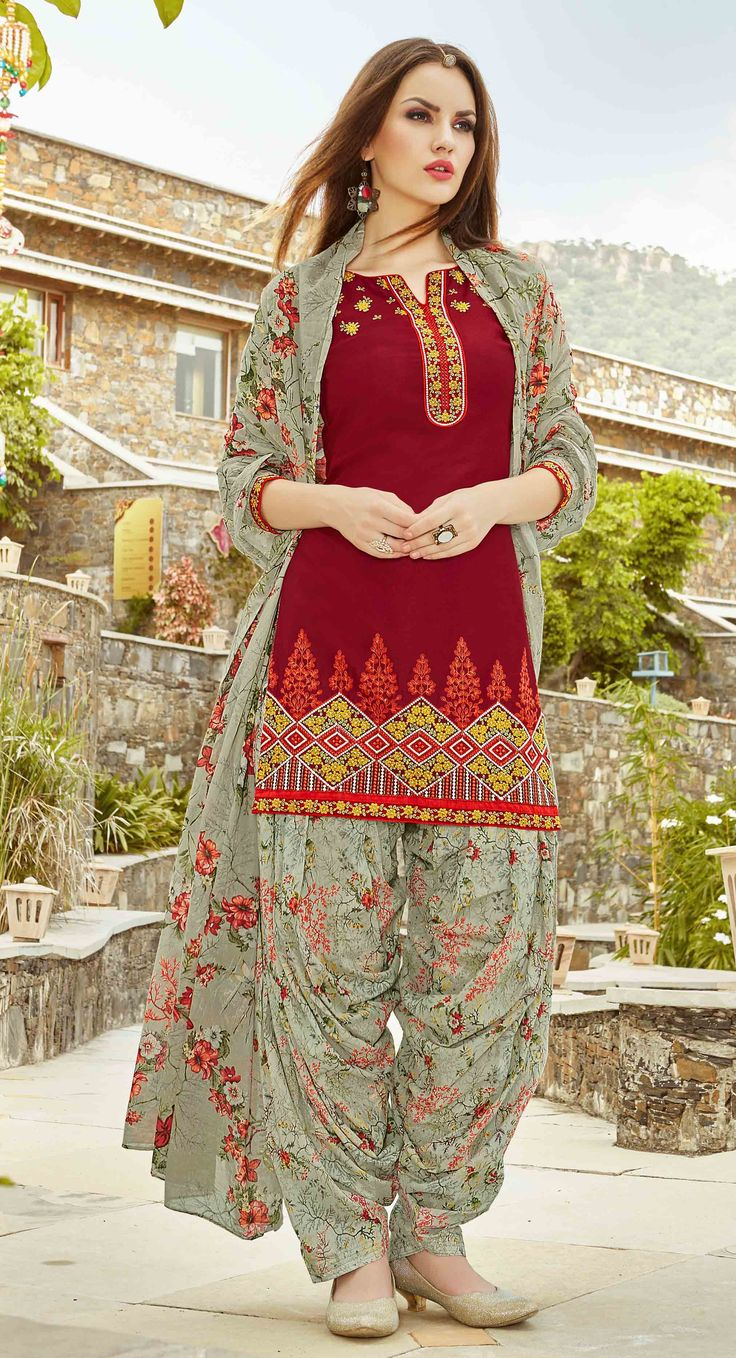 Fashionnow Maroon Cotton Patiala Salwar Kameez