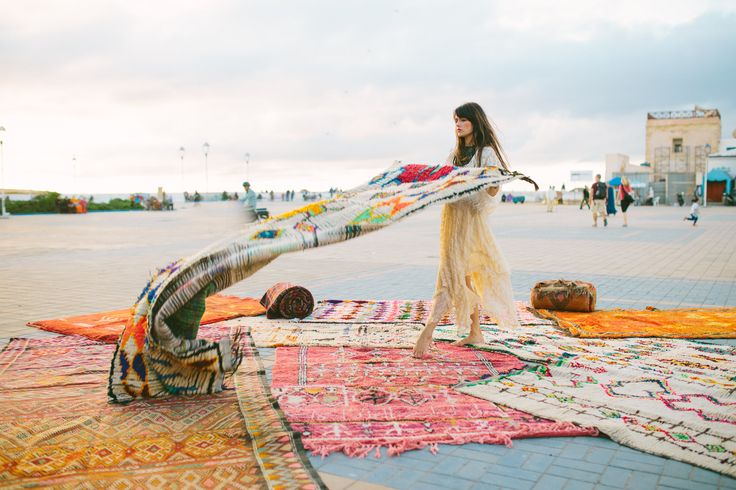 designerVeronica Hamlet's collection of vintageMoroccan rugs, pillows and baskets.