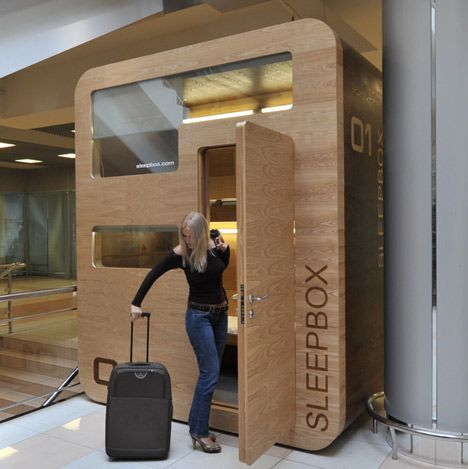 Sleepbox, tiny hotel rooms for napping at airports.