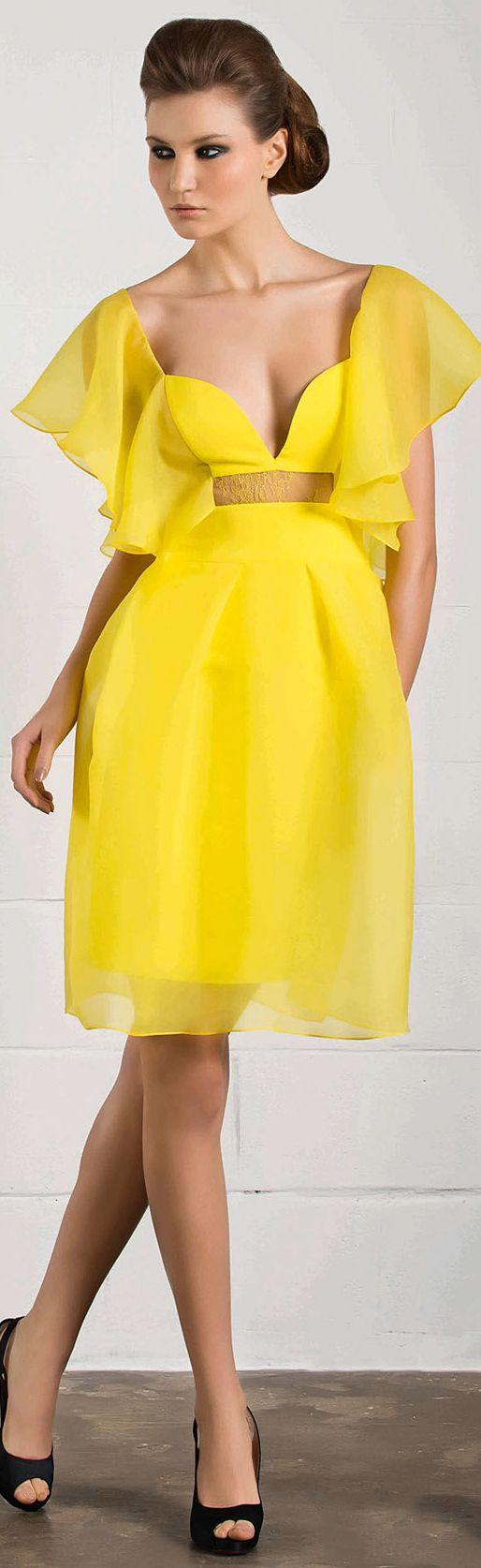 RANI ZAKHEM #cocktail #yellow #dress