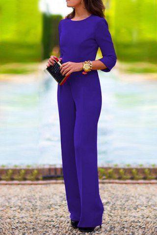 Elegant Scoop Neck 3/4 Sleeve Solid Color Backless Jumpsuit For Women Jumpsuits & Rompers | RoseGal.com Mobile