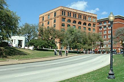 Dallas, Texas:  JFK assassination site--grassy knoll and the Texas School Book Depository