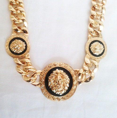 Gold Lion Head Medallion Necklace by LilyAndEllie.com, $24.00 It's surprisingly lightweight