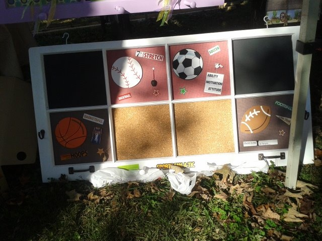 Sporty re-purposed window from home built in 1968.  Scrapping, chaulk board, and cork board for boys room. $125.00. Visit Amanda Ray, in TN on Facebook Scrap page. mailto:sammy_lou_...