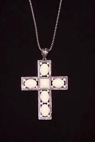 White Hollow Mesh Tube Cross Pendant Necklace