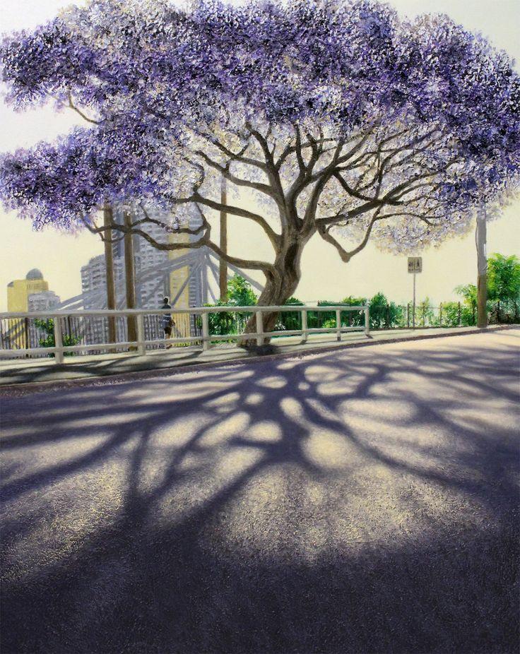 'Purple City'  (New Farm, Brisbane) by Lars Vester Oil on canvas, 61x76cm