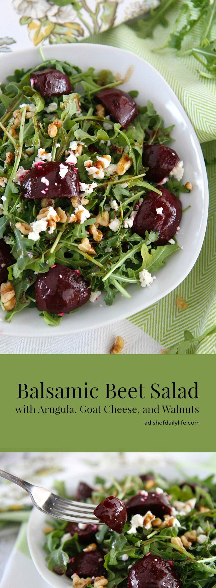 Balsamic Beet Salad with Arugula, Goat Cheese, and Walnuts...perfect side dish for your Christmas dinner! Vegetarian, gluten free, and can easily become vegan by simply omitting the goat cheese.