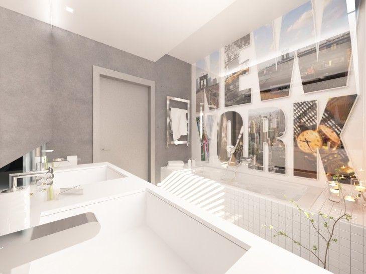 Projekt wnętrza łazienki z betonu. Aranżacja małego pomieszczenia w nowoczesnym, minimalistycznym stylu. Wnętrze ożywia fototapeta z Nowym Jorkiem na szkle.