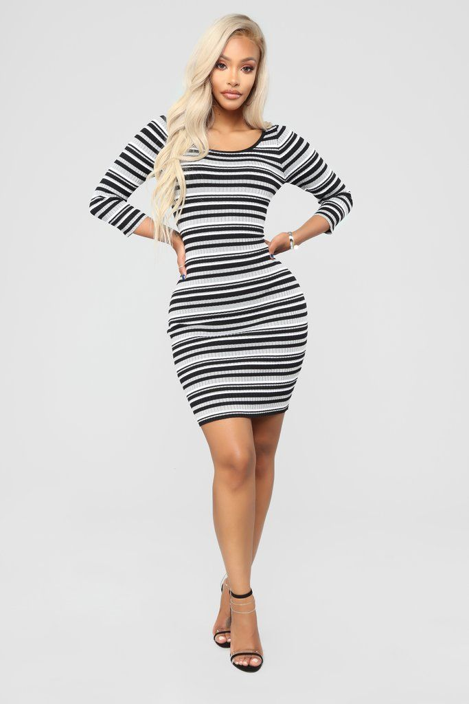 Tara Stripe Sweater Dress - Black Combo  3ea25b166