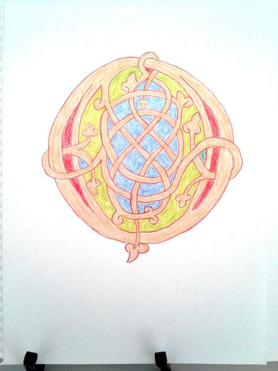 Fancy Illuminated Letter Ottonian O colored pencil drawing