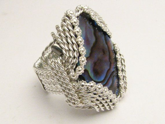 Handmade Sterling Silver Berry Wire Wrap Abalone Shell Ring
