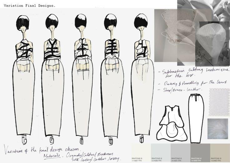 Fashion Sketchbook - fashion design development, dress variations using subtraction cutting - fashion drawings; fashion portfolio // Emilie Hale