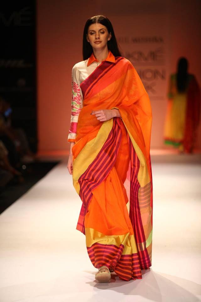 Shirt collar and sari! LFW A/W 2013: Rahul Mishra