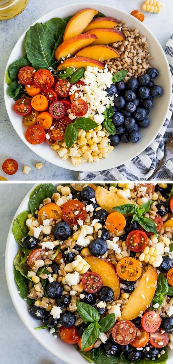 Summer Farro Salad with all of the best summer ingredients: peaches, blueberries…